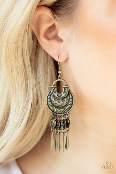 Give Me Liberty - Brass Lady Liberty Coins with Fringe Earrings