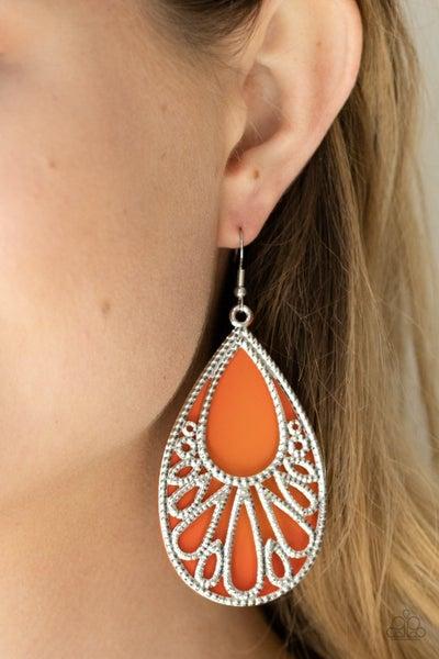 Loud and Proud - Silver filigree over Orange Acrylic Teardrop Earrings