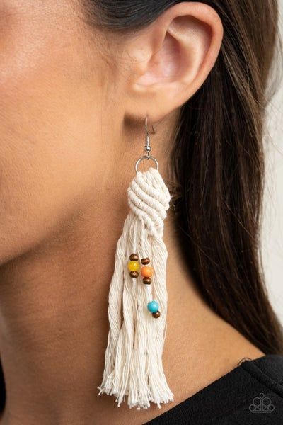 Pre-Sale Beach Bash - White knotted Tassels with Multi- Color Wooden Beads Earrings
