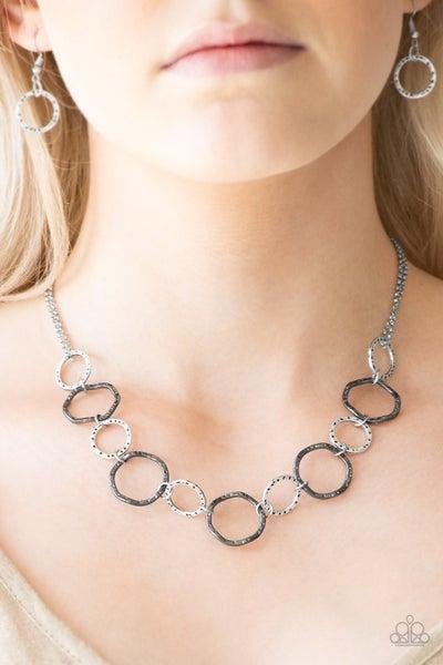 Circus Show - Silver & Gunmetal Hoop Necklace & Earrings
