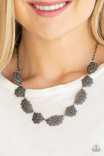Vintage Vogue - Gunmetal encrusted with glittery Hematite Necklace & Earrings