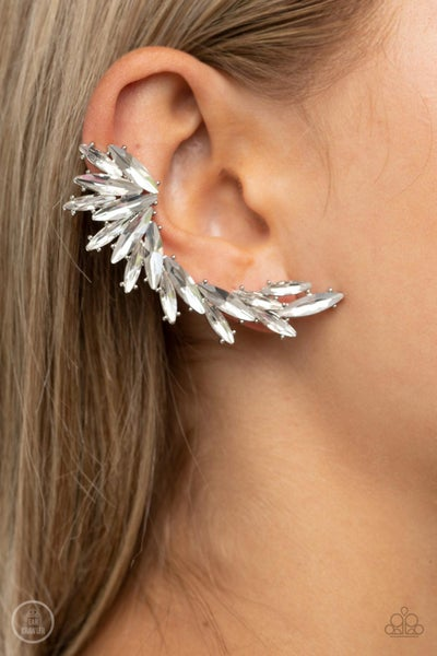 Because ICE Said So - Silver with White Rhinestones Ear Climbers