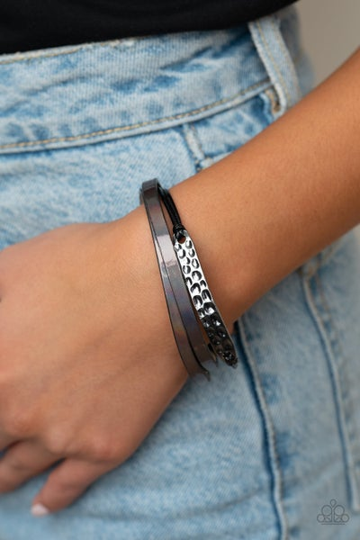 High-Strung Style - Oil Spill Leather with a Silver Frame Center Magnetic Bracelet
