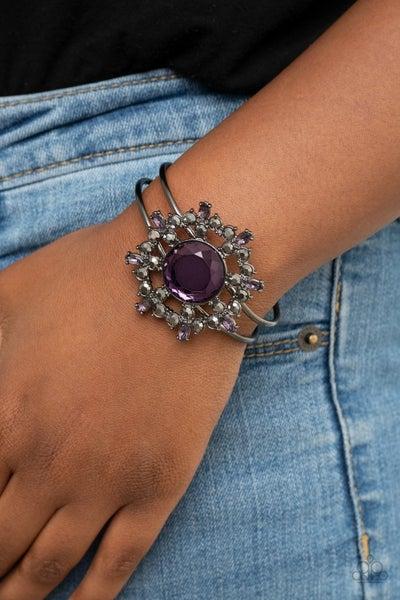Elaborate Elegance -Gunmetal with  Purple Oil Spill Stones Hinged Cuff Bracelet