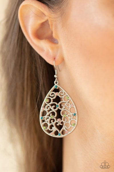 Pre-Order Midnight Carriage - Silver filigree with Multi-color Rhinestones Teardrop Earrings