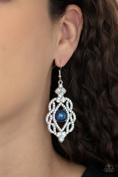Pre-Sale Rhinestone Renaissance - Silver  with white rhinestones around a Pearly Blue Center Earrings
