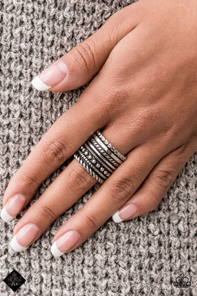 Stacked Odds - Silver studded Rings