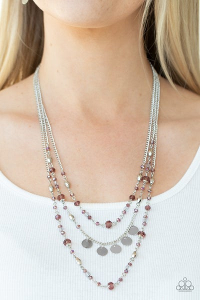 Step Out of My Aura - Silver with sparling Purple faceted beads layered Necklace & Earrings