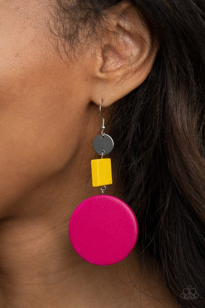 Modern Materials - Silver with Multi - Yellow & Pink Wooden Discs Earrings