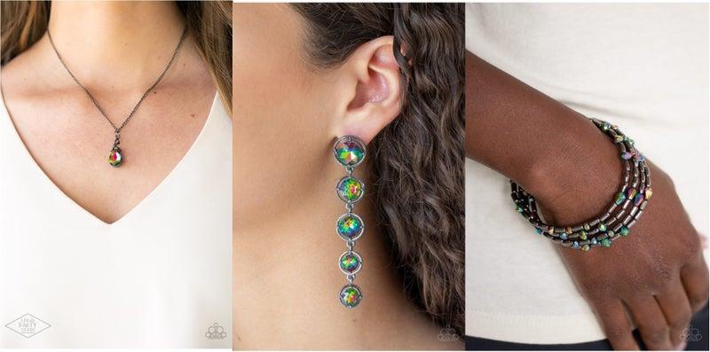 Timeless Trinket, Drippin In Starlight & Regal Remix - Oil Spill Gunmetal Necklace, Earrings & Coil Bracelet 3 piece Set