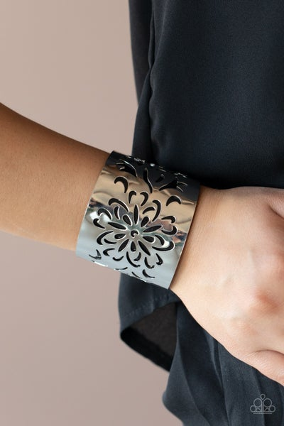 Pre-Sale - Get Your Bloom On - Silver with Black Leather Floral Cuff Bracelet