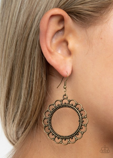 Sun Lounge - Brass Hoops with a Scalloped Filigree Edge Earrings
