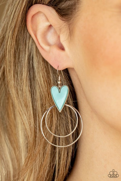 Happily Ever Hearts - Silver hoops drop from a Blue Heart shaped Bead Earrings