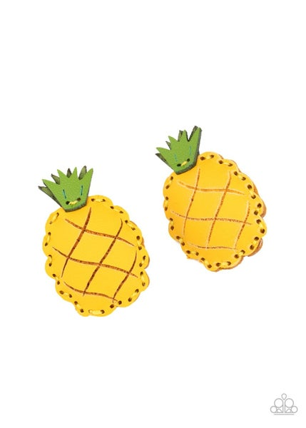 PINEAPPLE Of My Eye - Yellow Leather Pineapple  Hair Clip