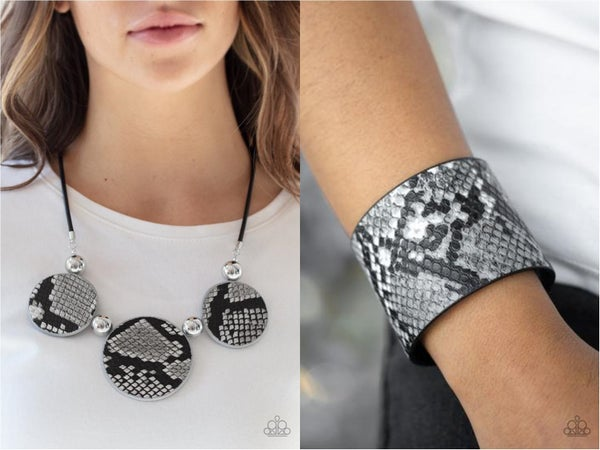 Viper Pit & What's HISS Is Mine - Black & Silver Python Print Leather Necklace & Bracelet Set