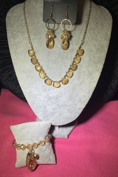 Catch a Fallen Star, Unapologetic Glow & Leaving so Swoon? - Gold with Gold Crystals Necklace, Earrings & Bracelet - 3 Piece Set