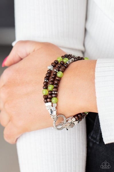 Woodsy Walkabout - Green & Brown Wood with Silver Beads Bracelet