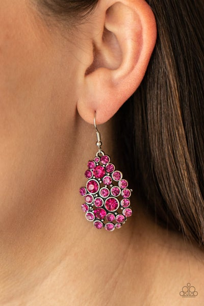 Smolder Effect - Silver with clusters of Pink Rhinestones Earrings