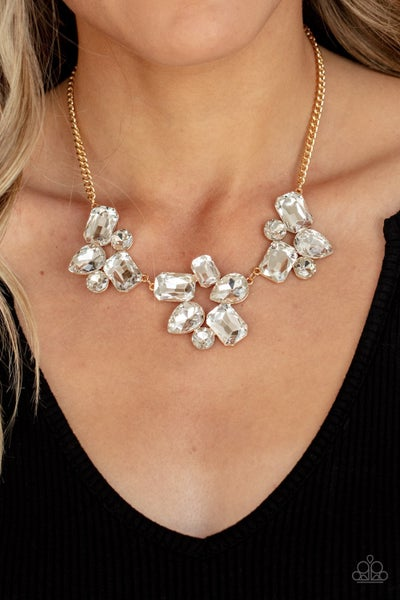 Galactic Goddess - Gold with large White Rhinestones Necklace & Earrings