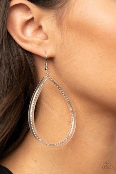 Pre-Sale - Just ENCASE You Missed It - Silver Teardrop Hoop with Clear Acrylic Coating Earrings