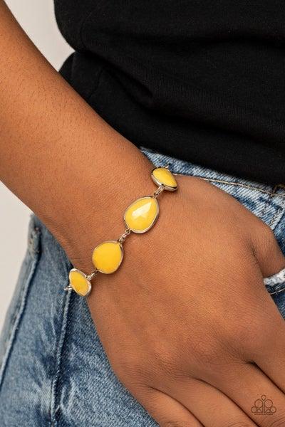REIGNy Days - Silver with Yellow Acrylic Teardrops Bracelet