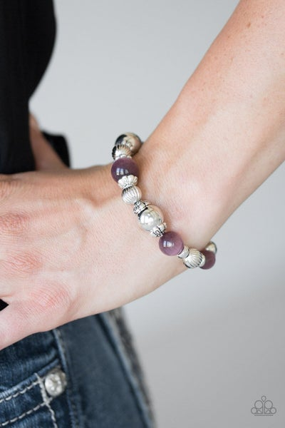 Once Upon A MARITIME - Silver Beads with Purple Moonstone Bead Bracelets