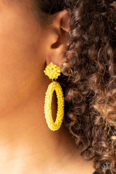 Be All You Can BEAD - Yellow Seed Bead Hoop Earrings