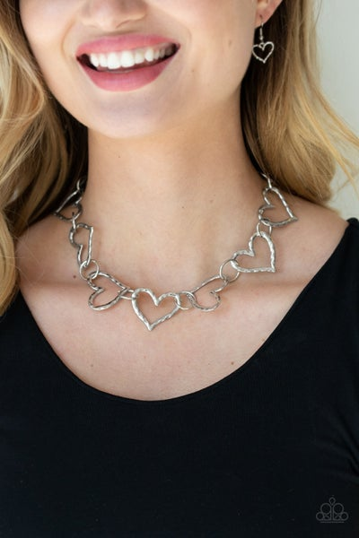 Vintagely Valentine - Silver Heart linked Necklace & Earrings