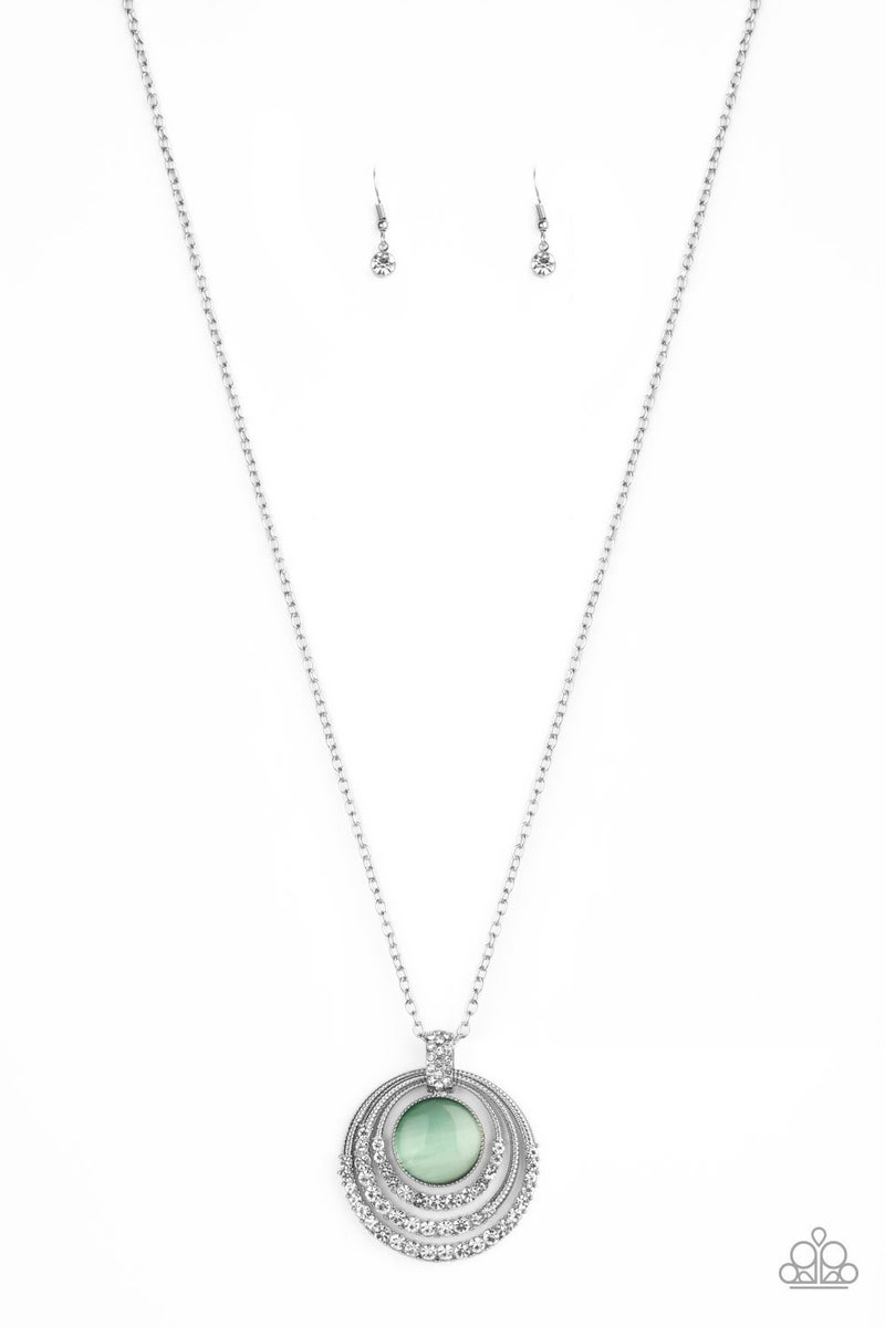 A Diamond A Day - Silver circles with White Rhinestones and a Green Moonstone Center Necklace