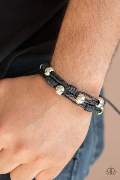 Free Climb - Black Cordage with Silver Beads Knotted Pull-Tight Bracelet