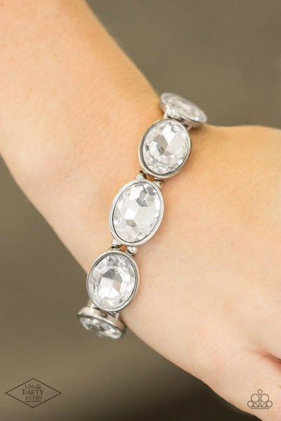 Pre-Order DIVA In Disguise - Silver with oval White Rhinestones Stretch Bracelet