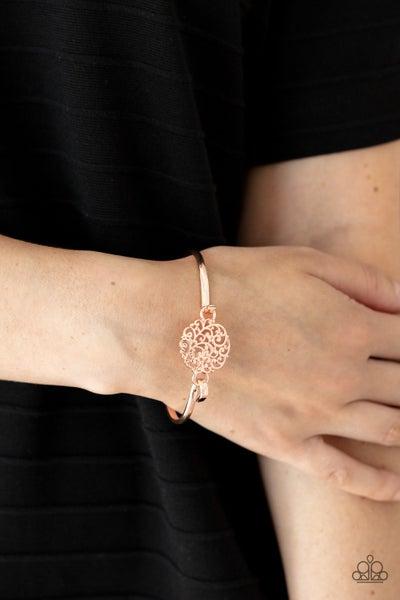 Filigree Fiesta - Rose Gold Filigree Hinged Cuff Bracelet