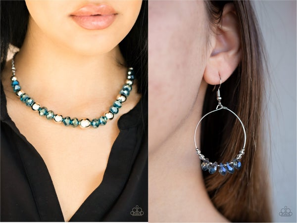 Jewel Jam & Holographic Hoops - Silver with Iridescent Blue Crystal Necklace & Earring Set