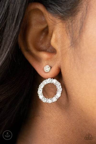 Diamond Halo - Silver with White Rhinestones ear hugger (jacket) Earrings