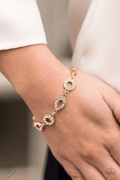 Royally Refined - Gold with white Rhinestones Bracelet