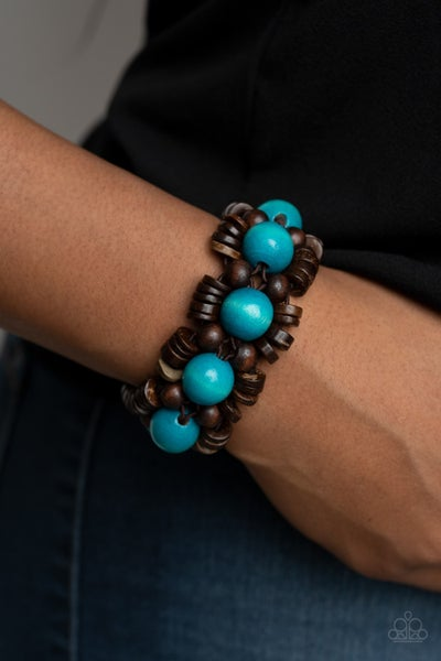 Pre-Sale Tropical Temptations - Brown with Blue Wood Beads Stretch Bracelet