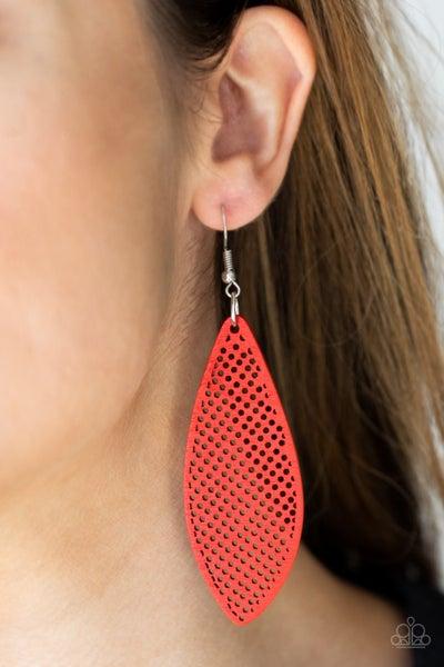 Surf Scene - Red Wood Surfboard Earrings