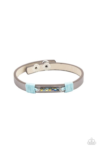 Pre-Sale Worth The Hype - Silver leather with Metallic & Iridescent Blue Snap Bracelet