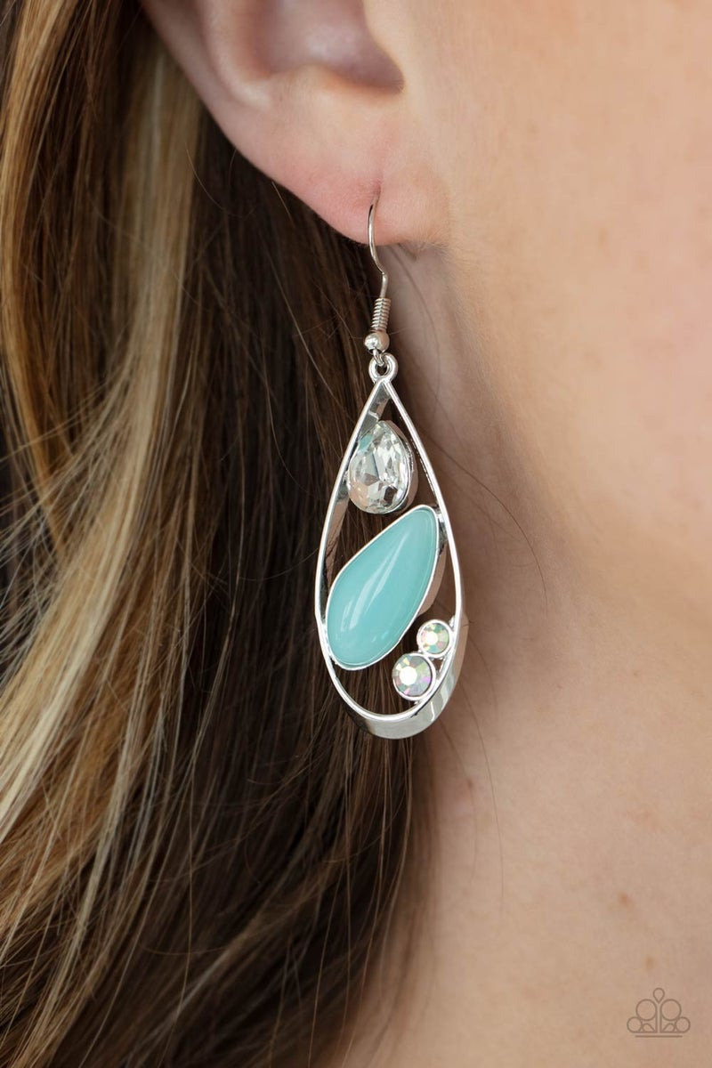 Harmonious Harbors - Silver with Blue Moonstone Earrings