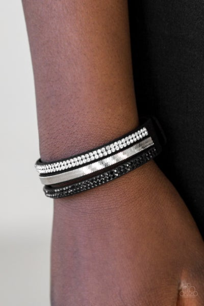 I Mean Business - Black Suede with Rows of Black Rhinestones & Silver Chain Snap Bracelet