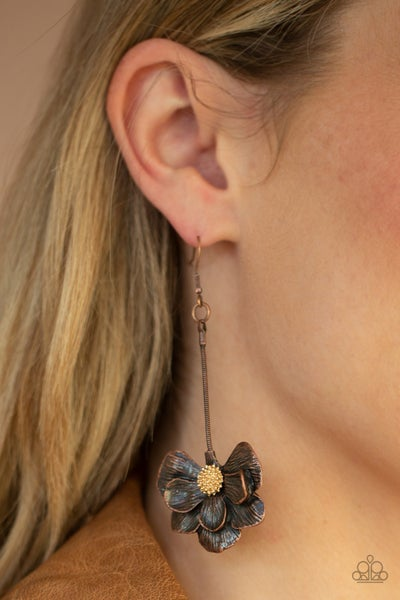 Pre-Sale Oh SNAPDRAGONS! - Copper Snapdragon Flower with Gold Center drop Earrings