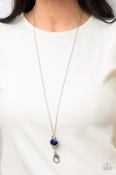 What GLOWS Up - Silver with Blue Bead Lanyard Necklace & Earrings