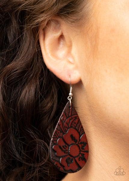 Beach Garden - Embossed Brown Leather Earrings