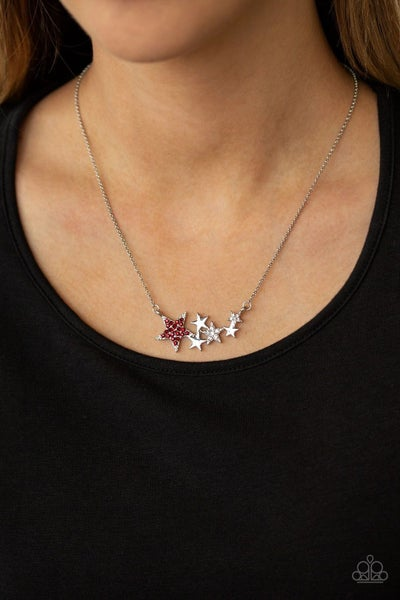 Rising Starlet - Silver Necklace with Red & White Stars