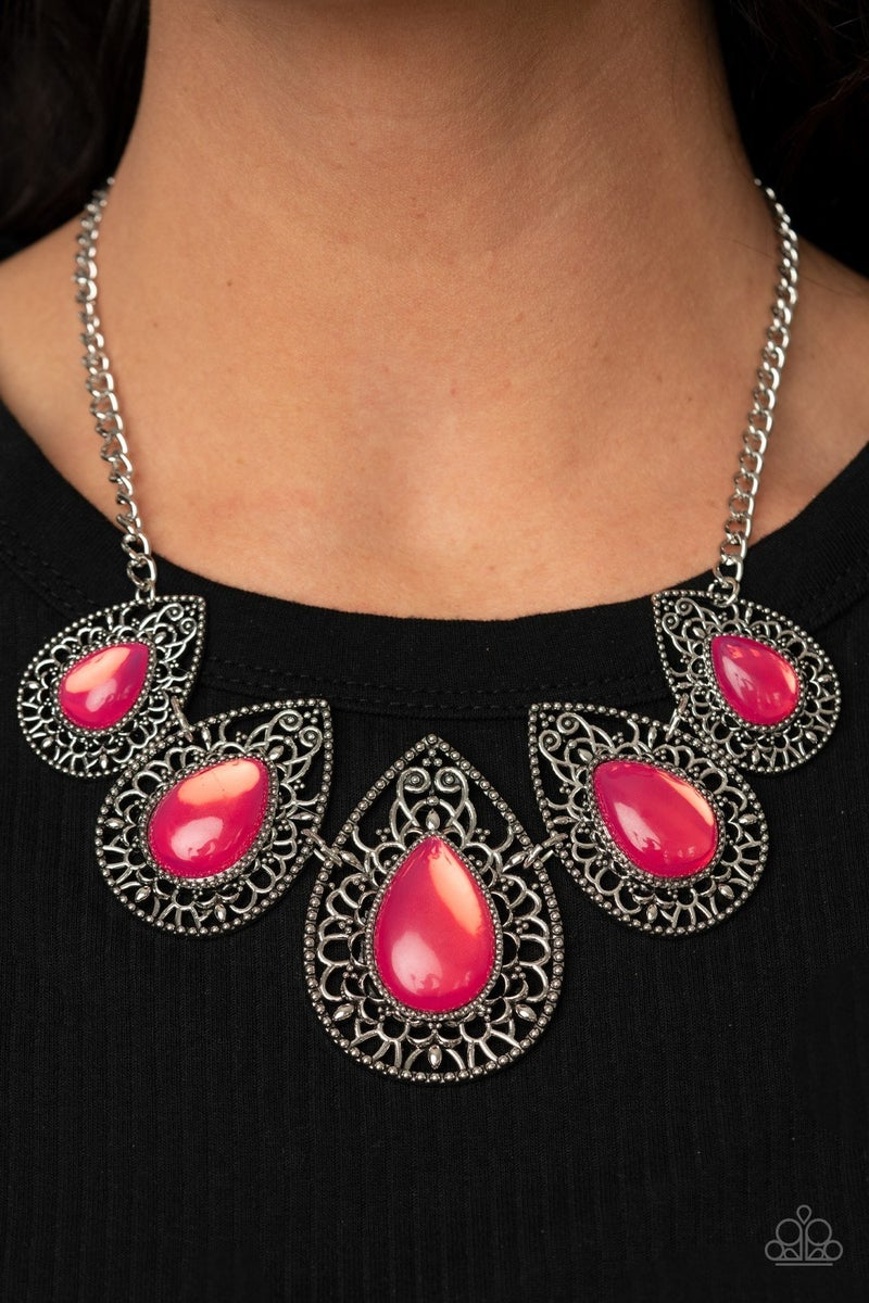 Opal Auras - Silver with Pink opalescent/Moonstone Teardrop Beads Necklace & Earrings