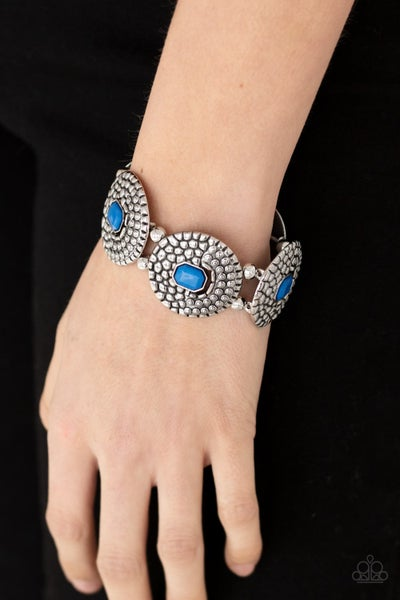 Pre-Order Prismatic Prowl - Blue emerald-shaped beads in round Silver discs Stretchy Bracelet