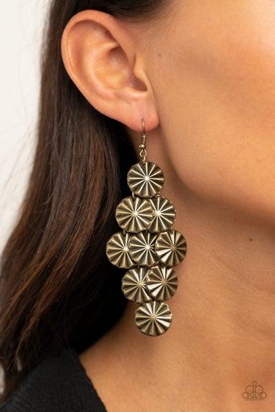 Star Spangled Shine - Brass star-like discs Chandelier Earrings