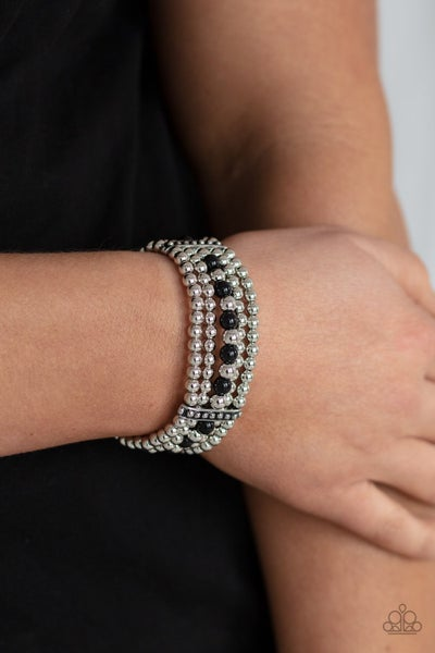 Gloss Over The Details - Black Beads with Silver Beaded Stretch Bracelet