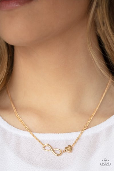 Love Eternally - Gold Infinity Symbol & Heart stamped with Mom Necklace & Earrings