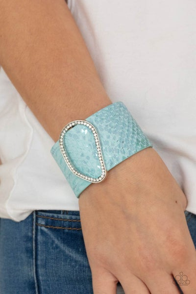 HISS-tory In The Making - Blue Python Print Leather with asymmetrical Rhinestone center Snap Bracelet